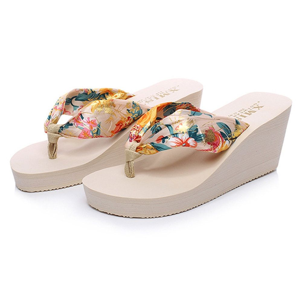 3ddd8a99ff4ea8 Kokobuy Casual Woman Summer Sandals High Heels Flip Flops Platform ...