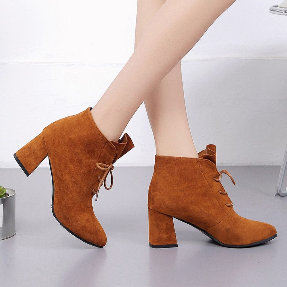 7ca7f8c9d1 Eissely Women Boots Square Heel Platforms Thigh High Pump Boots High Heel  Shoes BW 35-Brown 35-39