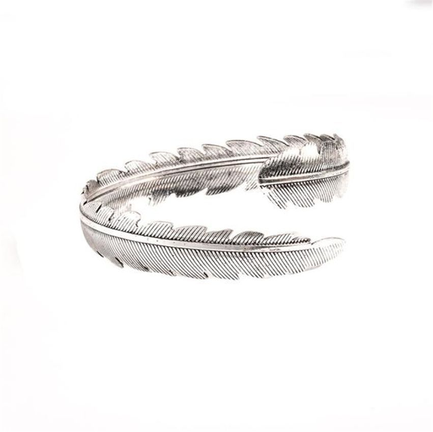 Neworldline Fashion Vintage Metal Feather Armbands Bracelet Opening-Silver