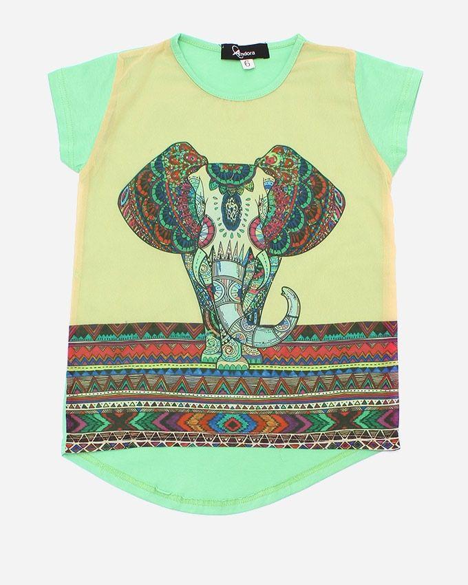 "Andora ""Elephant"" Printed T-Shirt - Green"