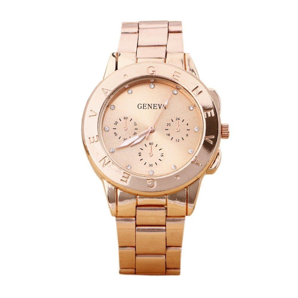 523a8f1d1560 Duoya New Geneva Ladies Women Girl Watch Stainless Steel Quartz Wristwatch  R -Rose Gold