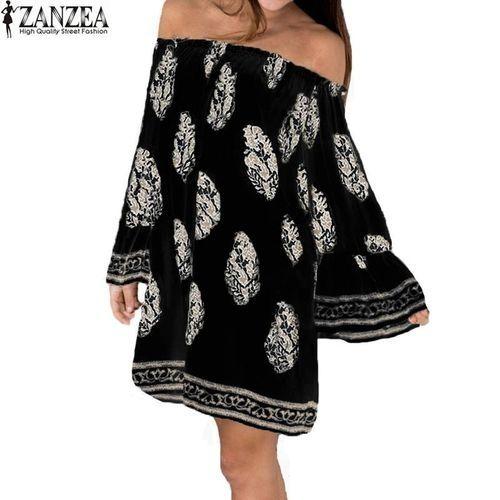 1055581f298 ZANZEA ZANZEA Womens Slash Neck Off Shoulder Boho Floral Flare Sleeve  Casual Party Mini Dress (Black)