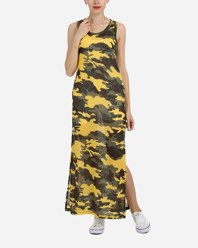 Be Positive Maxi Printed Dress With Bolero - Yellow & Olive