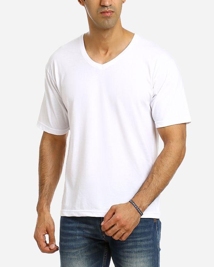 Andora Solid V-Neck T-Shirt - White