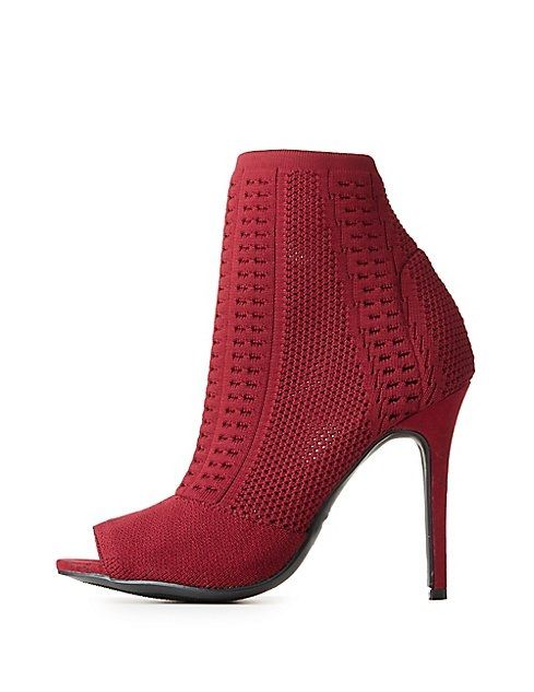 83661e7654 Charlotte Russe Open-Knit Peep Toe Ankle Booties Price in Egypt ...