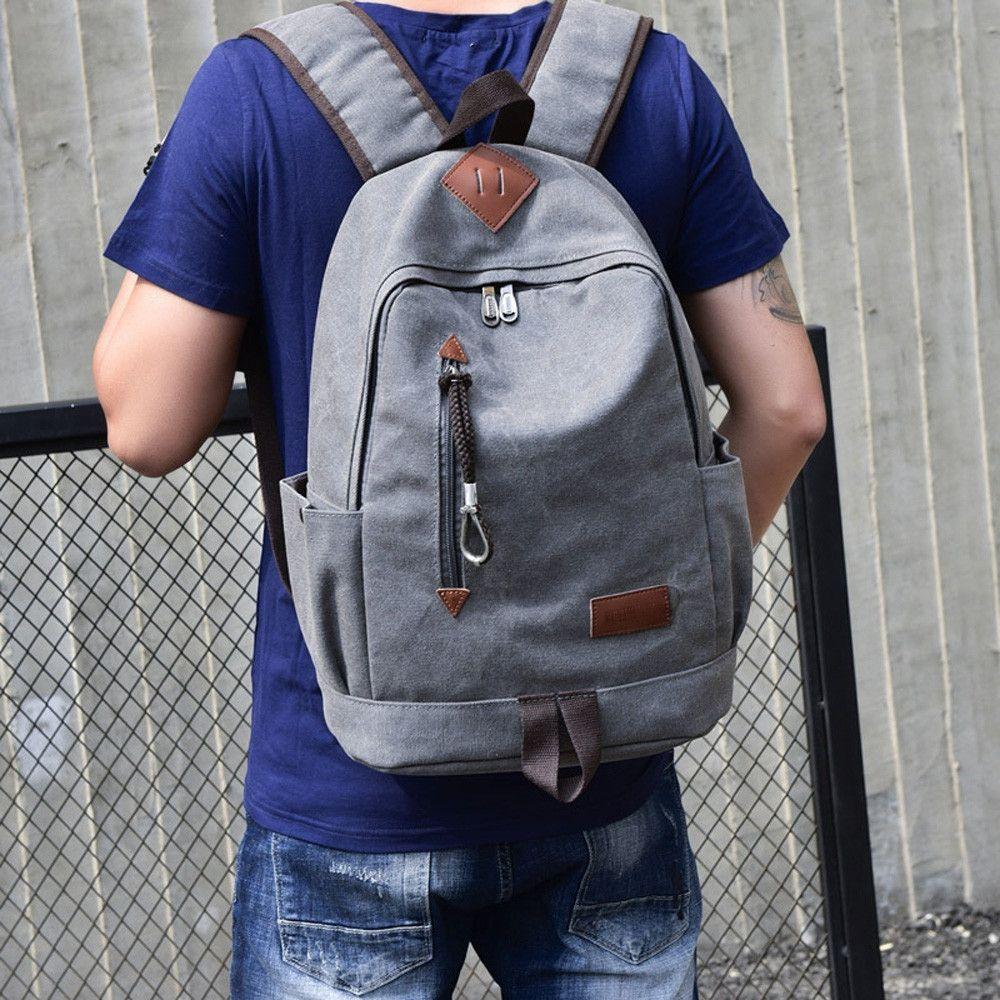 Generic Tectores Fashion Trend Casual Men Canvas Backpack School ... 4021ba5aaf642