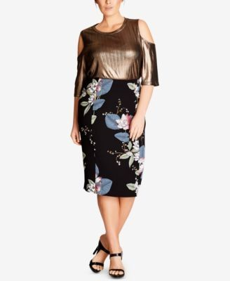 c65e8fd215 Macy's City Chic Trendy Plus Size Blossom Printed Pencil Skirt Price ...