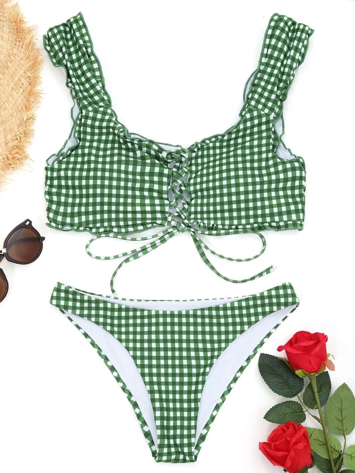a6a05726a49fe Zaful Frilled Gingham Lace Up Bralette Bikini Set - WHITE AND GREEN ...