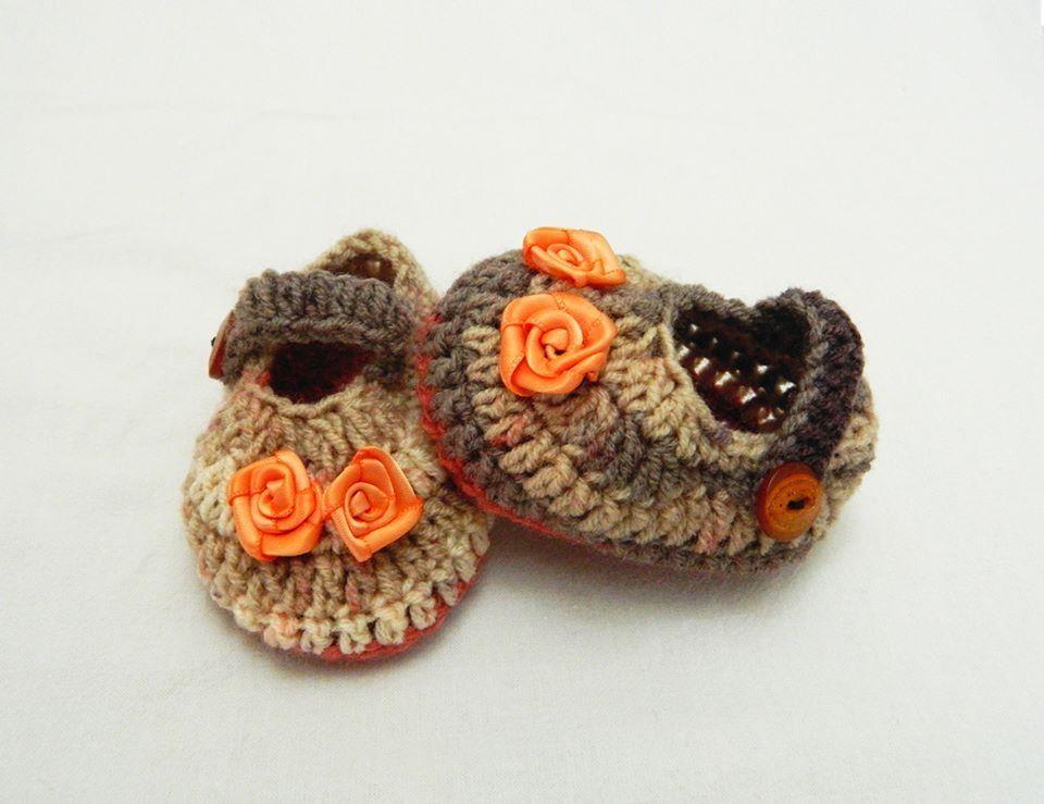 Babybee Handmade Wool Baby Shoes - Orange  f4a14a37e2c9