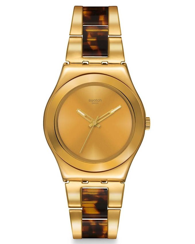 bd3692e8a Swatch YLG127G Stainless Steel Watch – Gold/Brown   ساعات   كان بكام ...