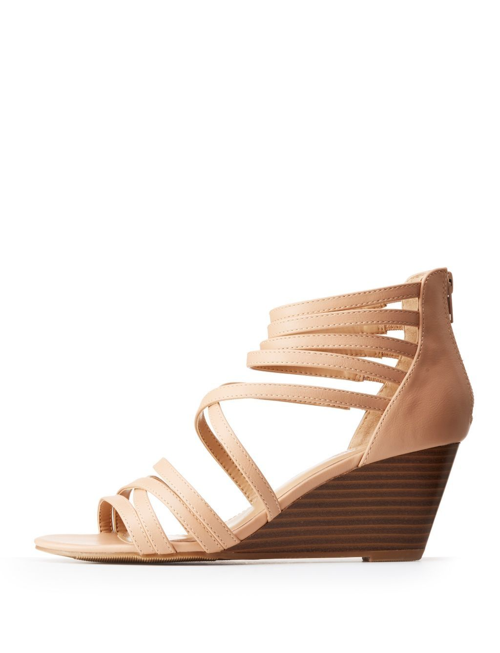 659791970366 Charlotte Russe Strappy Crisscross Wedge Sandals
