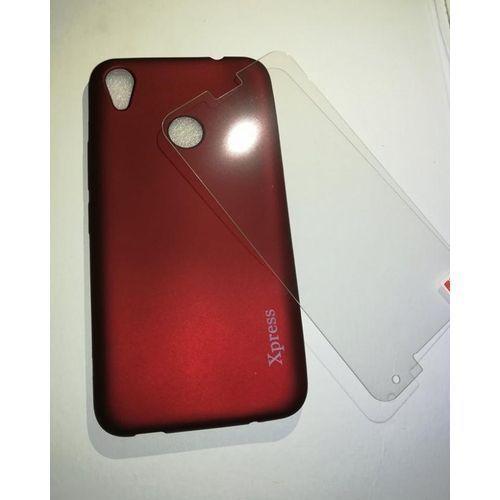 Generic Soft Cover Infinix Hot 5 X559c - Dark Red+Glass