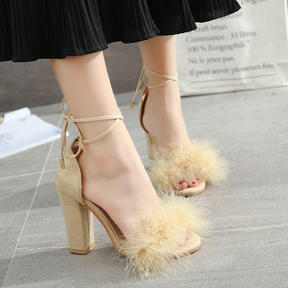 8f820c33dc8 Fashion Blicool Shoes Womens Fish Mouth High Heel Cross Straps Sandals Ankle  Feather Party Shoes Beige