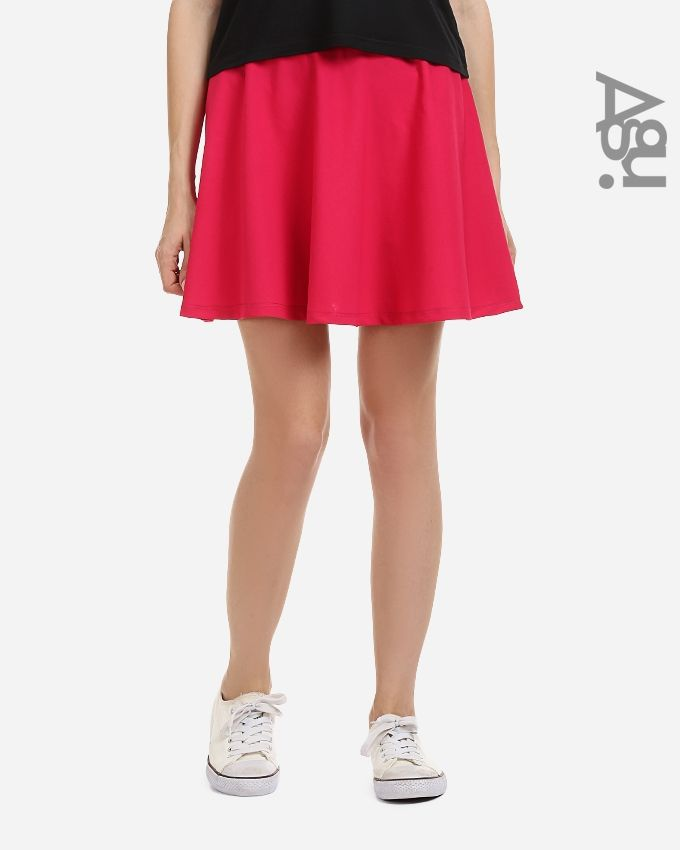 Agu Solid Mini Skirt - Fuchsia