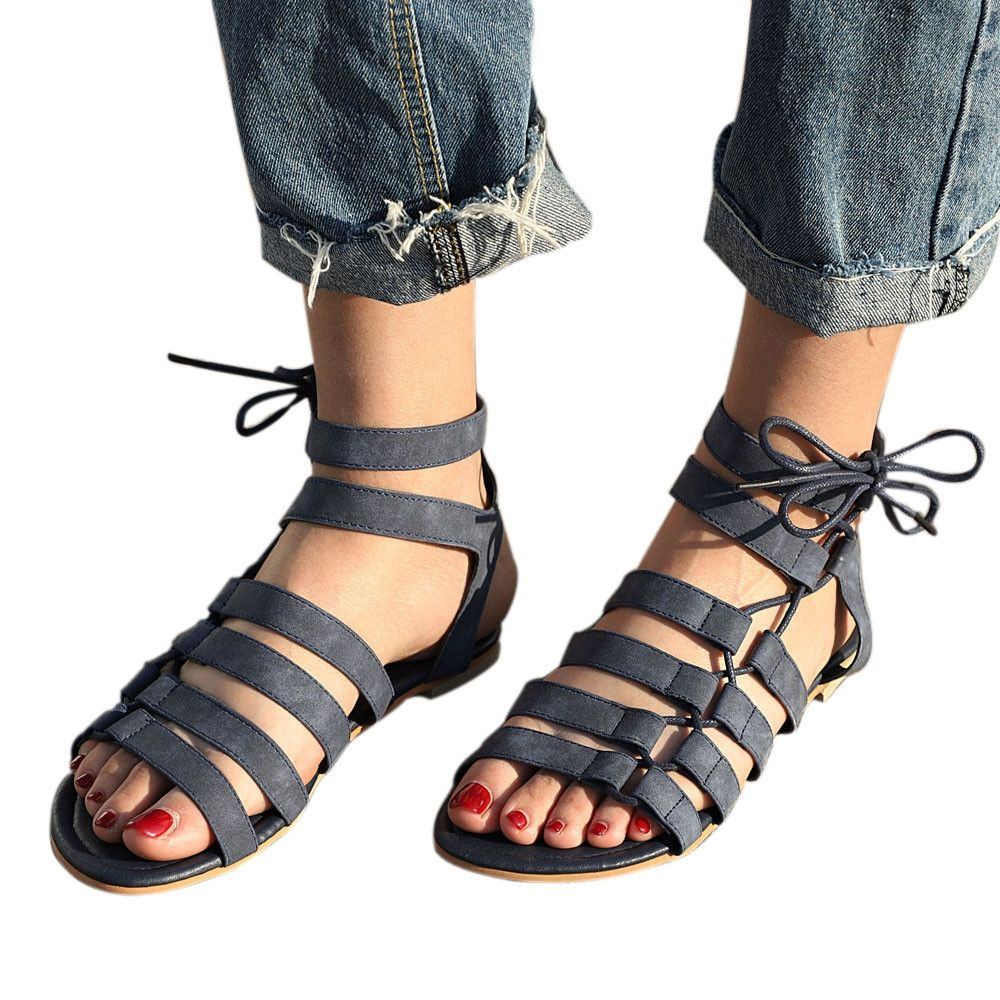 ead1641f106 Fashion Blicool Shoes Women Bohemia Sandals Gladiator Flat Peep-Toe Sandals  Shoes Roman Strap Sandals Black. updating Prices