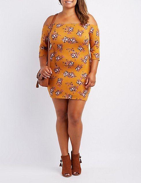 5c0c3ac8ab6 Charlotte Russe Plus Size Floral Off-The-Shoulder Bodycon Dress ...