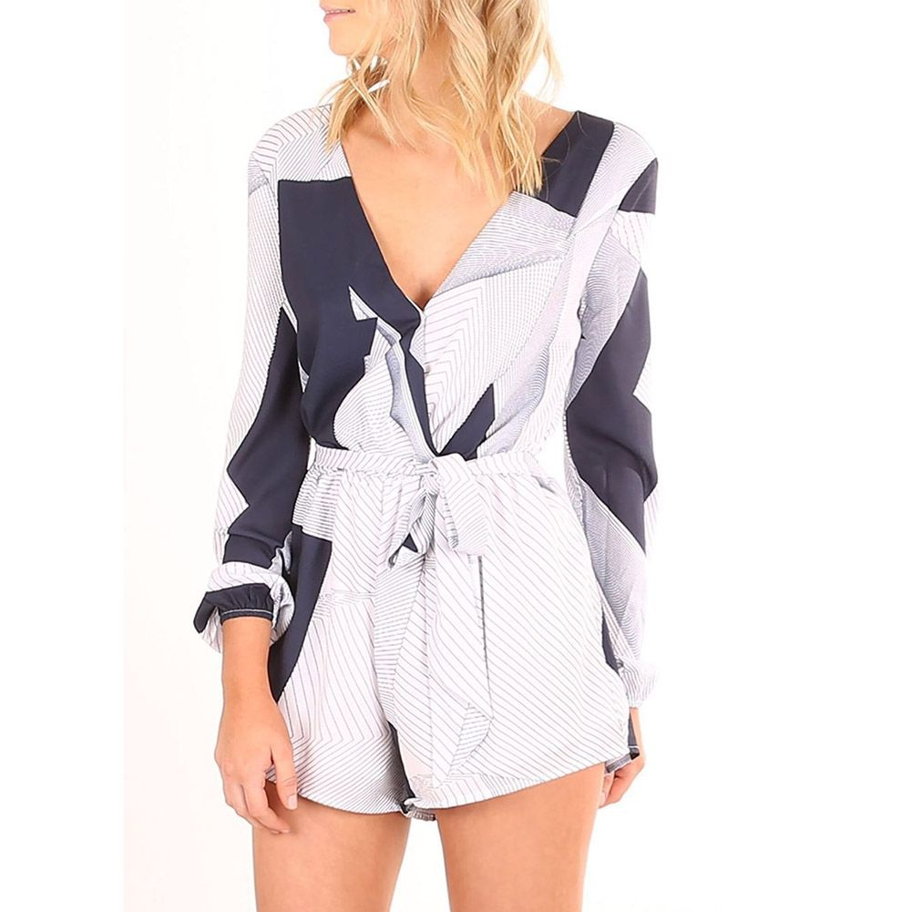 c2240b9dc3e6 Fashion Women s Stripe Sexy Deep V-neck Geometric Stitching ...