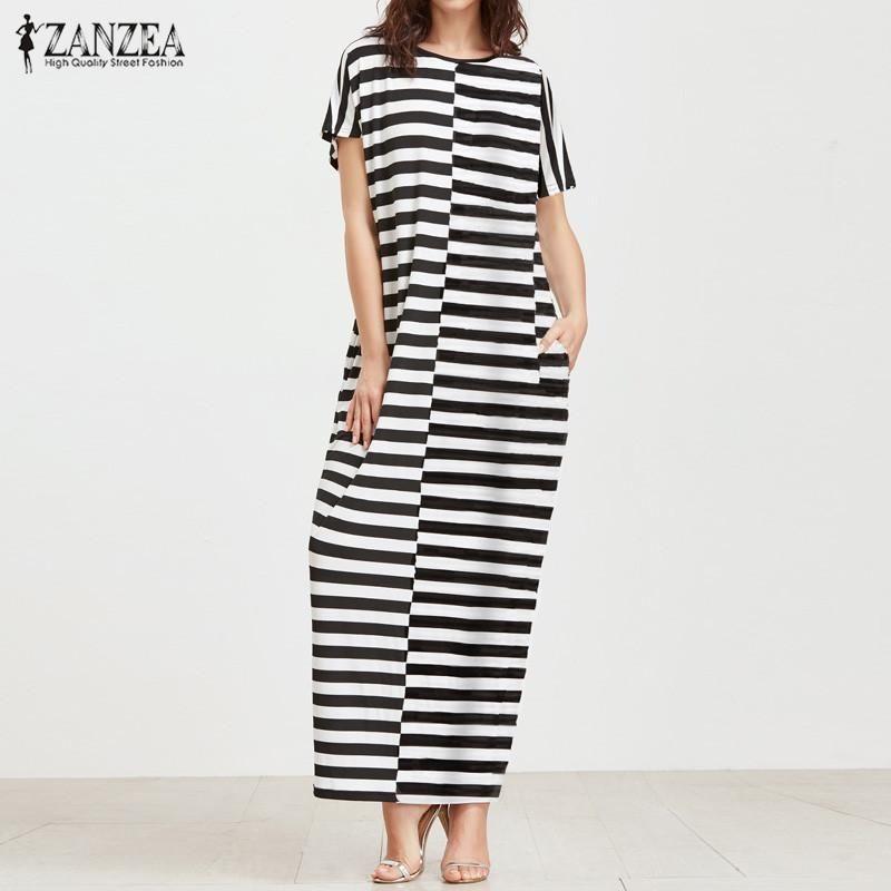 ZANZEA ZANZEA Women Striped Round Neck Short Sleeve Long Maxi Dress Summer  Splice Patchwork Casual Loose Kaftan Vestido Plus Size S-5XL (Stripe2)Floral 054345183