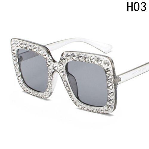 997894be6 Fashion Rhinestone Bling Glass Oversized Square Frame Sunglasses ...