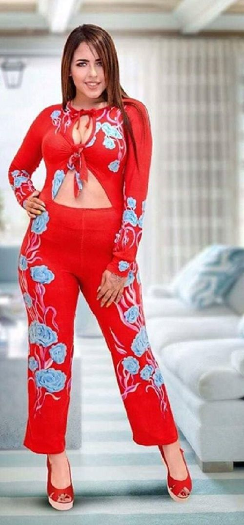 No Brand Womens Floral Long Sleeves Jumpsuit Red Lingerie