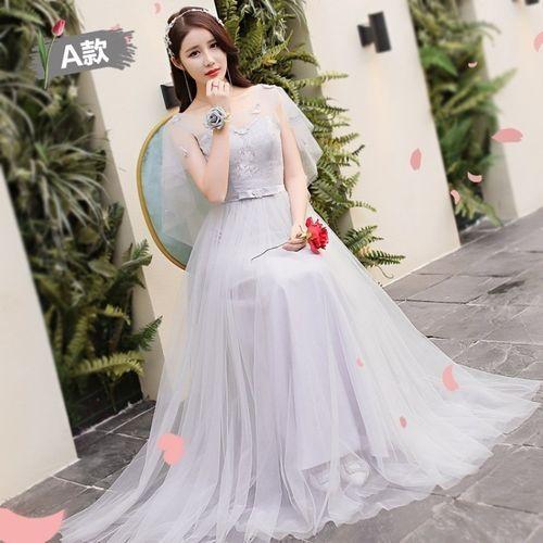 f65ef7f30f3 Fashion 2017 Spring And Summer New Korean Bridesmaid Sisters Dress  Bridesmaid Dress Gray Long Graduation Gown Evening Dress Was Thin (Gray A  Paragraph)