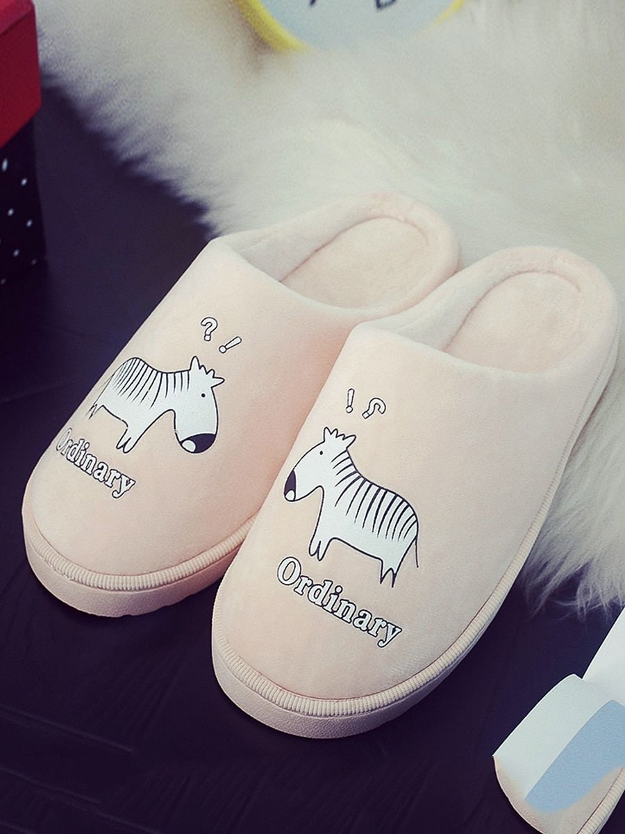 bd6674f697bc09 Buy Generic One Pair Home Slippers Likable Cartoon Horse Pattern Closed Toe  Antiskid Thick Soles Slippers