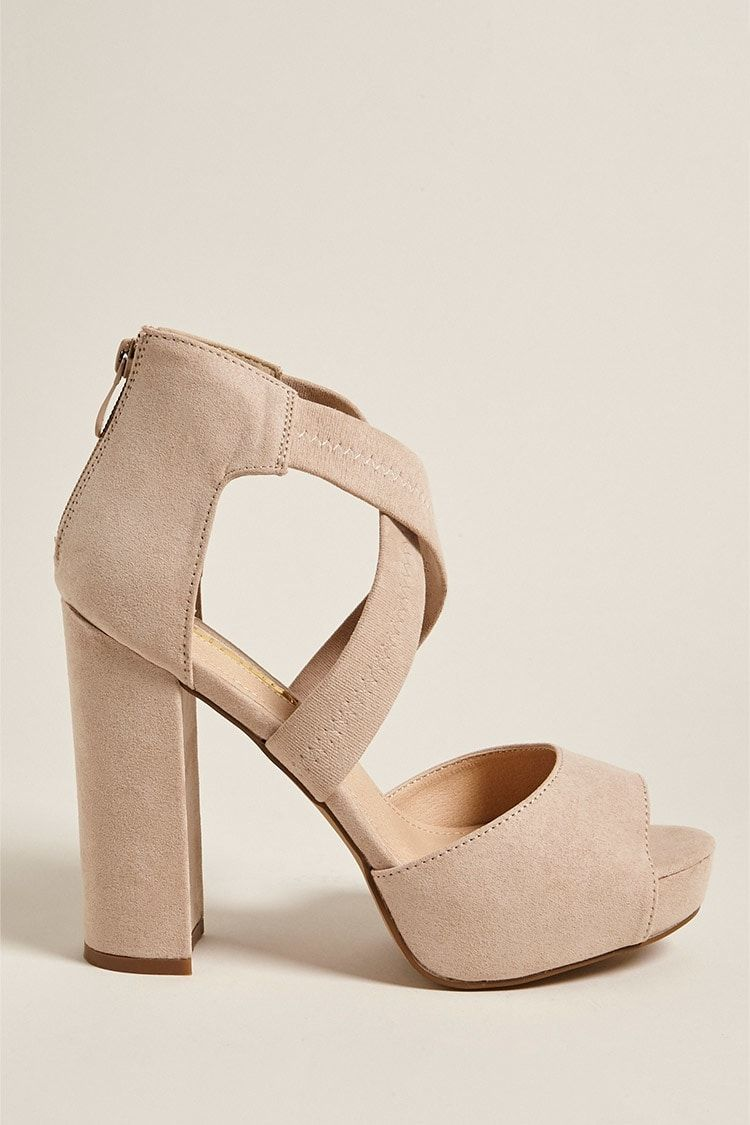 906fa8a85c7 Forever21 Faux Suede Strappy Platform Heels