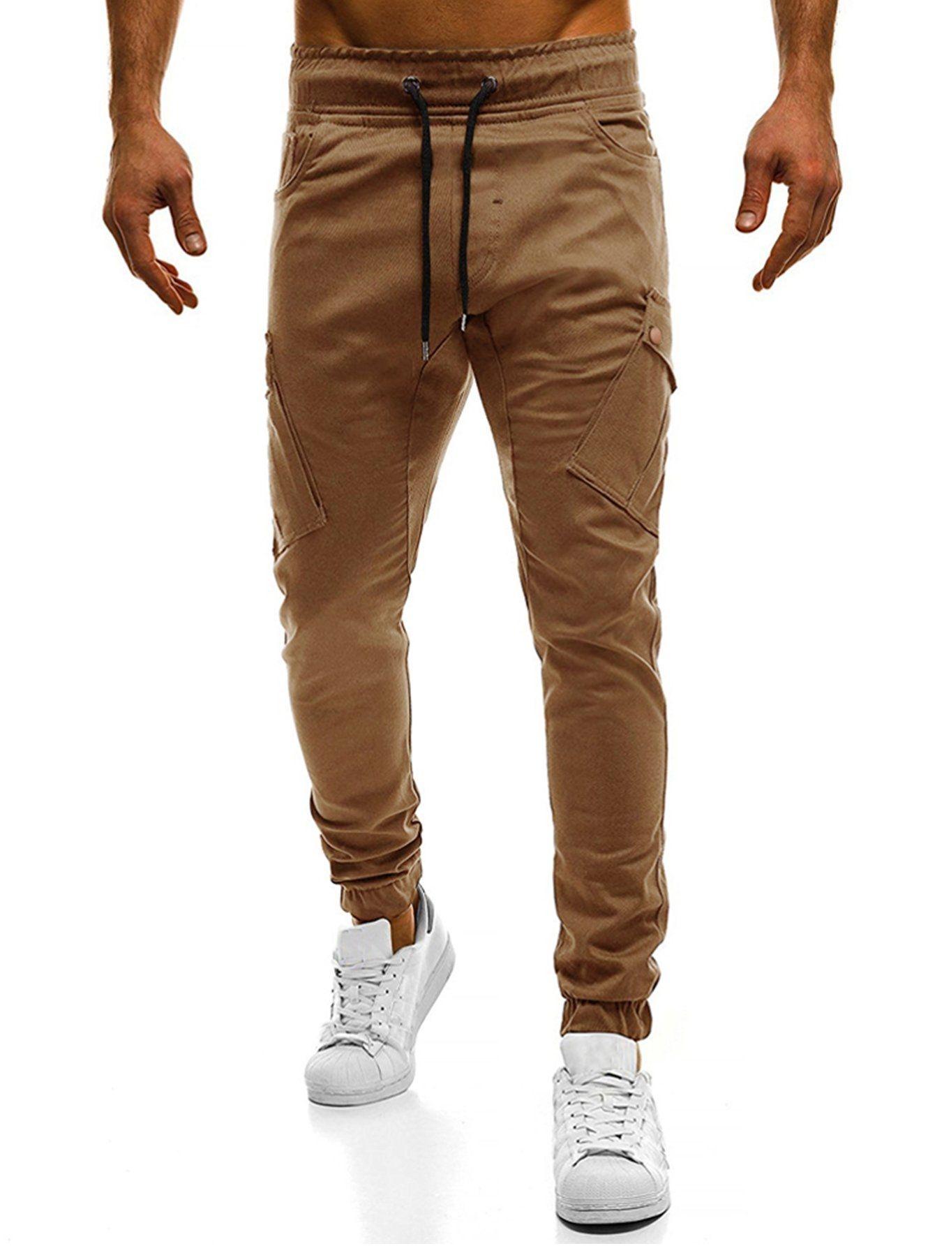595c74701ec6 SHEIN Men Pockets Decoration Plain Drawstring Pants Price in Egypt ...