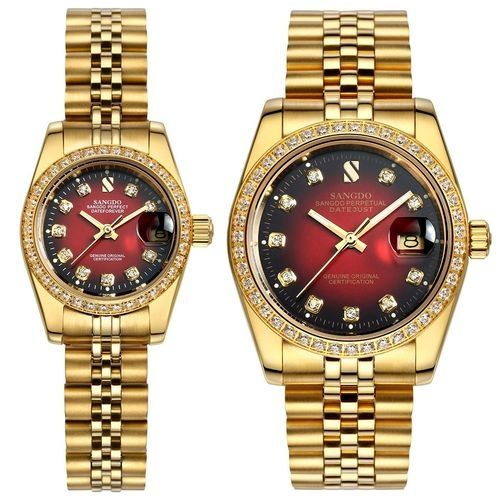 1a5de14ee Louis Will SANGDO Genuine Automatic Mechanical Watches Fashion Diamond  Couple Watch (Gold&Red)