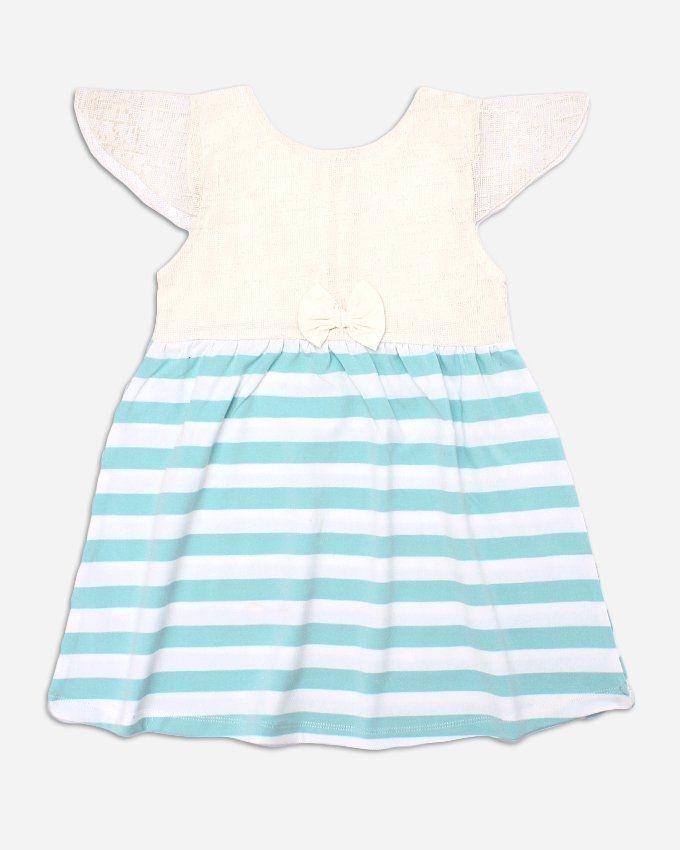 Andora Bi-Tone Striped Dress - White$Light Green