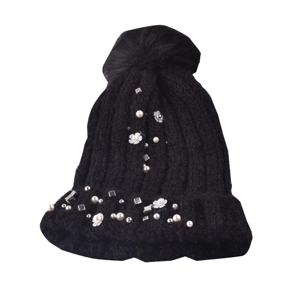 Eissely Women Faux Fur Ball Winter Warm Crochet Knitted Hat Cap Beanie BK 825e3a553901