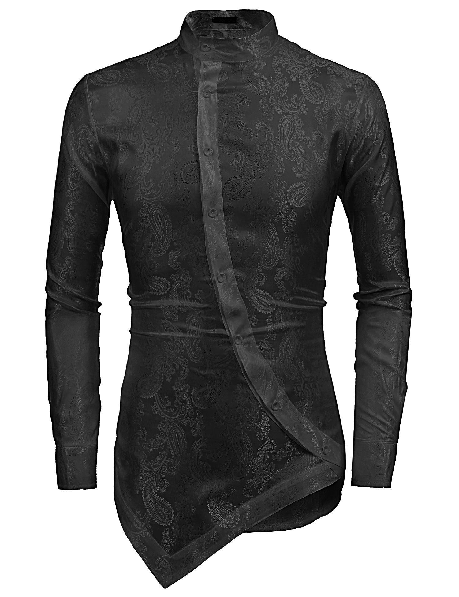 b3d4d451f Sunshine Men Stand Collar Long Sleeve Floral Casual Asymmetrical Hem Button  Front Shirts