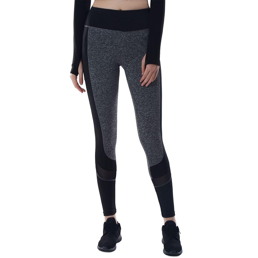 9208e4b76077 Fashion High Waist Leggings For Women Stitching Sheer Color Activewear Pants  - B Black