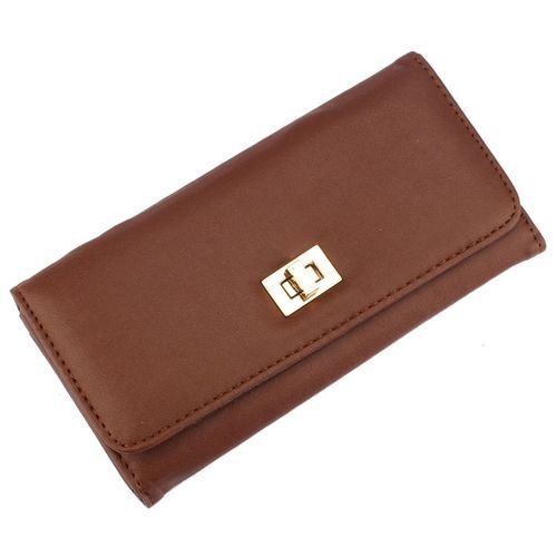 Neworldline Lady Long Cross Clutch Purse Handbag Card Holder Simple Wallet Brown-Brown