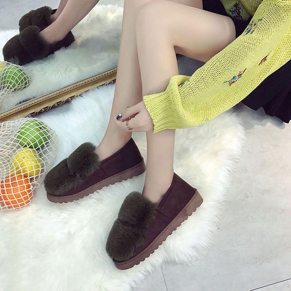 ea683c68b1ac Eissely Women Warm Flats Shoes Snow Women Autumn Winter Shoes Fashion GN 36-Green  -