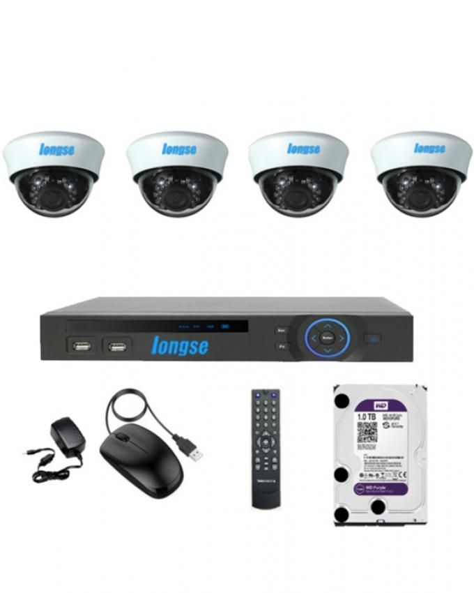 Longse AHD 4 Channels DVR + 4 Indoor Security Cameras + WD Purple 1TB Hard Disk