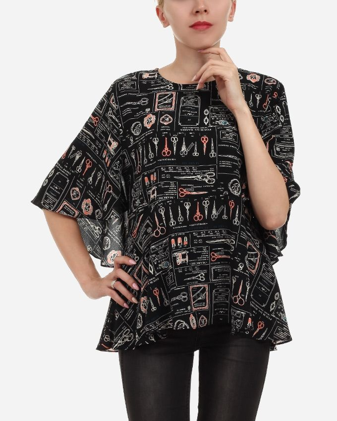 3bf350a6ecffd Femina Floral Butterfly Sleeves Blouse - Black   White Price in ...