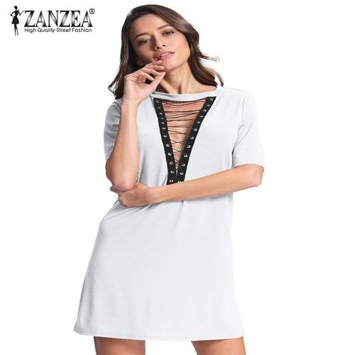 faf6e2ae4527 ZANZEA ZANZEA Women Short Sleeve Deep V Plunge Low Cut Cluwear Long ...