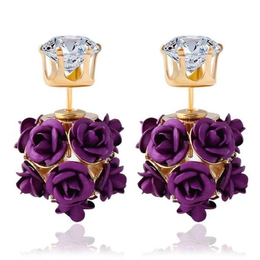 Neworldline New  Fashion Flower Rose Women Girls Crystal Stud Earrings Gift PP-Purple