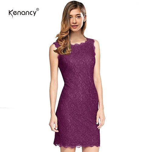 910b266d9f0 Kenancy Elegant Cocktail Floral Lace Dress Sexy Sleeveless Full Zip Back  Eyelash Lace Side Work Office Wedding Stretch Bodycon Slim Pencil Dress -  Purple