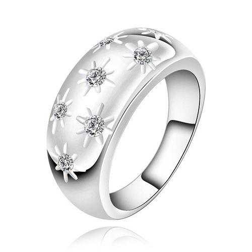 Neworldline Fashion Women Rhinestone Crystal Snow Rings Finger Band Ring  7-Silver