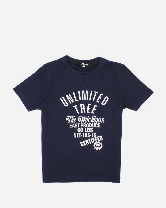 "Andora ""UNLIMITED'' Printed T-Shirt - Navy"