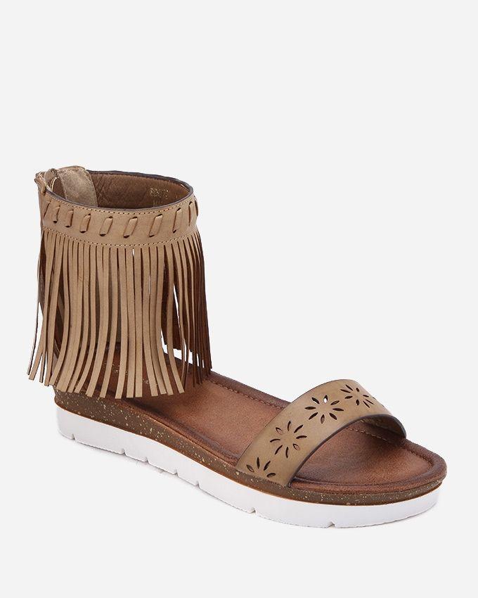 Spring Back Zipper Fringes Sandals - Light Brown