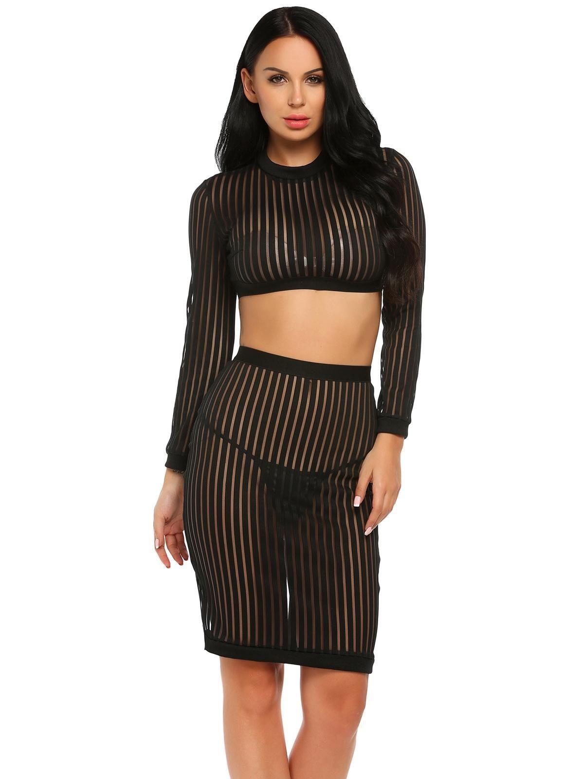 3cc080468d1 Sunshine Women Sexy Long Sleeve Sleeve Sheer Striped Crop Top And ...