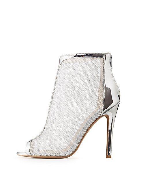 6dcabc57fd6656 Charlotte Russe Qupid Metallic Mesh Peep Toe Booties