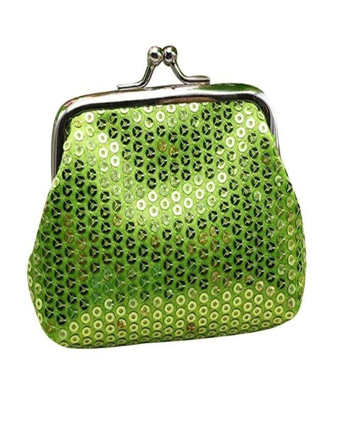 Neworldline Womens Small Sequin Wallet Card Holder Coin Purse Clutch Handbag Bag-Green