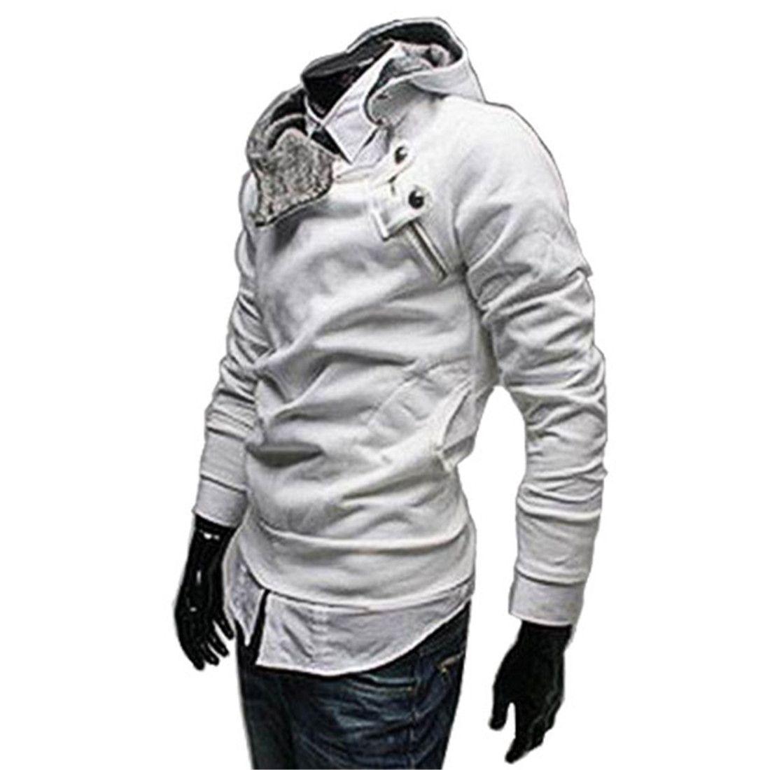 7cfc71236fec Generic Fashion Diagonal Zip Men   Fleece Hoodie Sweatshirts White 38