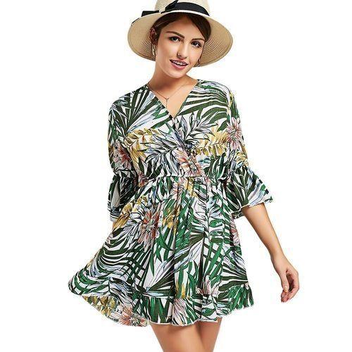 02067f89612e Buy Fashion Women V Neck Print Surplice Romper - Colormix in Egypt