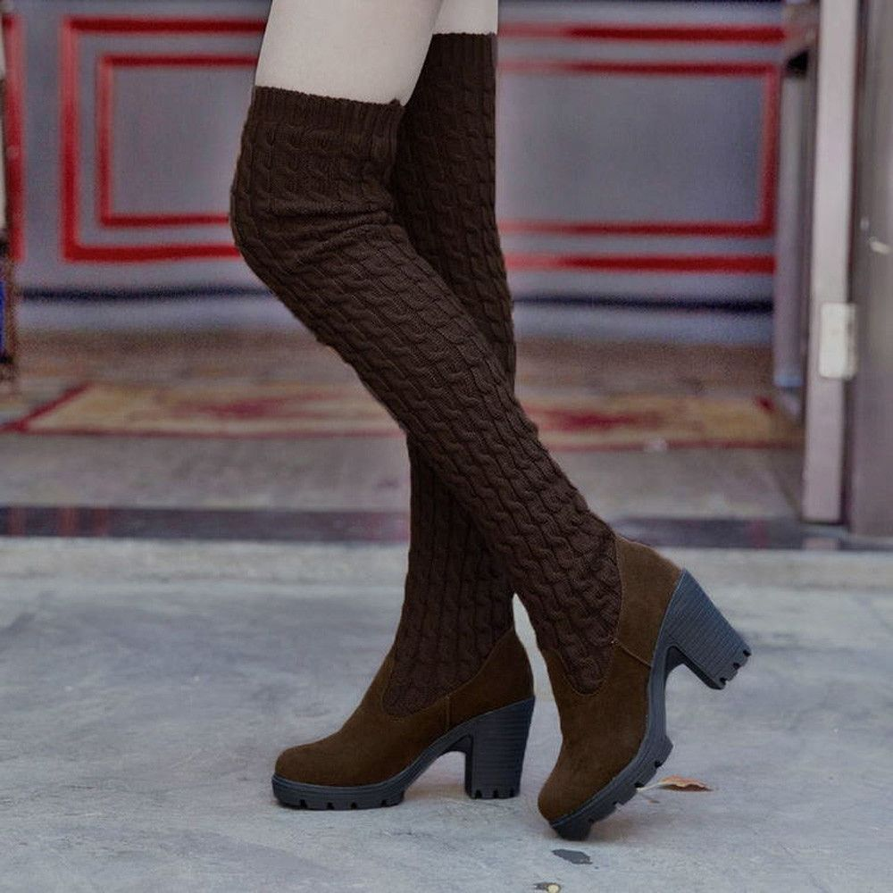 4bd9448efd3 Eissely Fashion Knitting Over Knee Boots Women Toe Elastic Stretch Thick  Heel Boots -Brown -