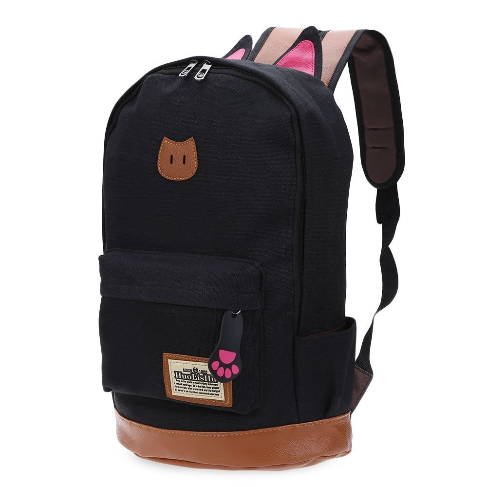 8aba597baeaf4 Universal Preppy Style Cat Patchwork Canvas Zipper Buckle Portable School  Backpack For Girl